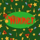 Ganador de la palabra en fondo inconsútil verde Imagenes de archivo