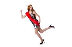 Ganador del concurso de belleza aislado en blanco Imagen de archivo libre de regalías