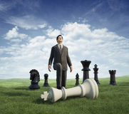 Ganador del hombre de negocios. ajedrez Imagenes de archivo