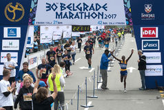 Ganador del maratón para los hombres Imagen de archivo libre de regalías