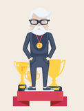 Ganador del viejo hombre en deporte Fotografía de archivo libre de regalías