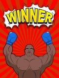Ganador en el estilo del arte pop Azul que lleva del boxeador afroamericano Imagen de archivo