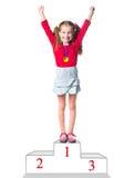 Ganador en un podio Imágenes de archivo libres de regalías