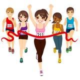 Ganador femenino del maratón stock de ilustración