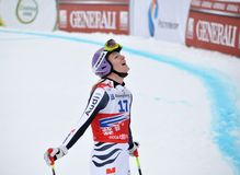 Ganador Maria Hoefl-Riesch en la taza de mundo del esquí 2012 Imagenes de archivo