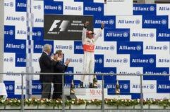 Ganadores de la raza de fórmula 1 Foto de archivo libre de regalías