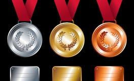 Ganadores del deporte: Medallas del oro, de plata y de bronce stock de ilustración