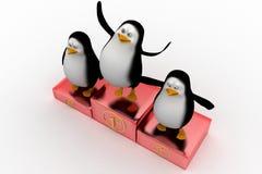 Ganadores del pingüino en el podio Fotos de archivo