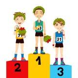 Ganadores del podium del deporte Fotografía de archivo libre de regalías