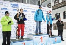 Ganadores VI de los juegos del invierno de los niños internacionales de UFA Foto de archivo