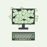 Ganancia de negocio en línea stock de ilustración