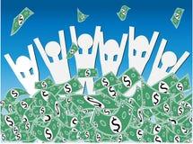 Ganancia inesperada del efectivo del dólar Fotografía de archivo libre de regalías