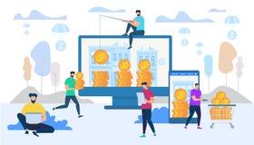 Ganancia y gastar dinero en concepto de Internet ilustración del vector
