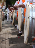 Ganapati Procession Dhol. An abstract view of drummers hitting the traditional drum called the DHOL during a traditional Ganesh festival procession Royalty Free Stock Photography