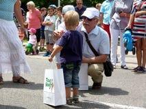 Ganar la pre-raza de la bicicleta de los niños en el viaje de Hongrie fotos de archivo libres de regalías