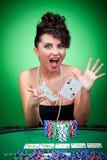 Ganar una mano de póker Foto de archivo libre de regalías