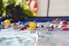 Gancho abstrato um jogo do pato na feira ~ criança pequena da perspectiva imagem de stock royalty free