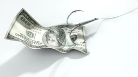 Gancho atraído cédula do dólar Fotos de Stock Royalty Free