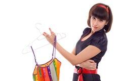 Gancho bonito da preensão da mulher com o vestido isolado Imagens de Stock Royalty Free
