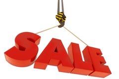 Gancho de la grúa que levanta letras rojas grandes de la venta Imagen de archivo