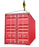 Gancho de la grúa y contenedor para mercancías rojo Fotos de archivo