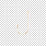 gancho de pesca brillante de oro en fondo vacío ilustración del vector