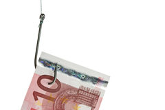 Gancho de pesca e euro- close-up Foto de Stock Royalty Free