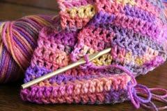 Gancho do Crochet, do fio e de Crochet Imagens de Stock Royalty Free
