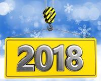 gancho do guindaste 3d com sinal do metal 2018 Imagem de Stock