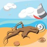Gancho en la orilla de la playa Fotografía de archivo libre de regalías