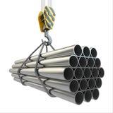 Gancho y tubos de la grúa. 3d Foto de archivo libre de regalías