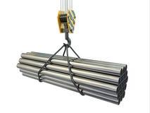 Gancho y tubos de la grúa. 3d Stock de ilustración