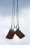 Ganchos de leva de la grúa de construcción Imágenes de archivo libres de regalías