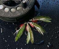 Ganchos de leva de pescados de la mosca foto de archivo