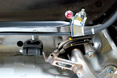 Ganchos do acoplador & da borracha de D no sistema de suspensão da exaustão Foto de Stock