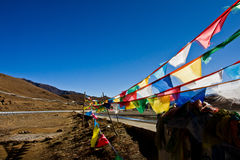 The Ganchula Mountain Pass with prayer flags Tibet Royalty Free Stock Images