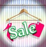 Ganci dei vestiti di vendita Fotografie Stock Libere da Diritti