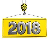 gancio della gru 3d con il segno del metallo 2018 Immagine Stock Libera da Diritti