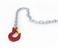Gancio di menzogne rosso della gru del metallo con la catena dell'acciaio Fotografia Stock