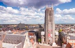 GAND,比利时:空中全景城市视图 城市是preferr 免版税库存图片