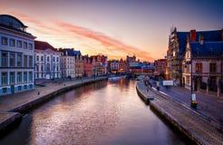 Gand Belgique - belle vue au-dessus des maisons traditionnelles Photo stock