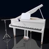 Gand piano and microphone on a black background Royalty Free Stock Photography
