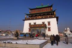 Gandantegchinlen kloster Mongoliet Fotografering för Bildbyråer