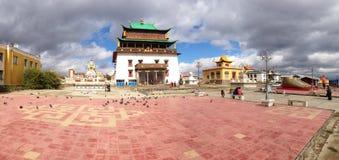 Gandantegchinlen Monastery Panorama in Ulaanbaatar, Mongolia stock photos