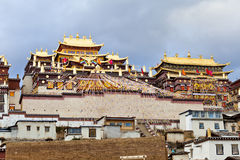 Ganden Sumtseling Monastery in Shangrila, China. It is the landmark of China royalty free stock images