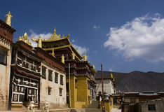 Ganden Sumtseling Monastery in Shangrila, China. Ganden Sumtseling Monastery in Shangrila,It is the biggest temple in Yunnan Province, China stock photo