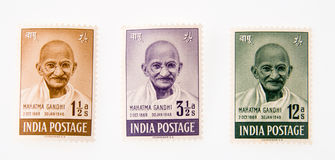 Gandhi. Three Indian postage stamps of Gandhi, the great Indian freedom fighter and advocate of non-violence Stock Images