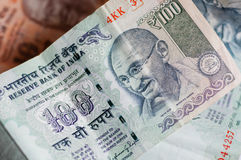 Gandhi on the currency of Republic of India Stock Photos