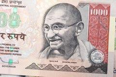 Gandhi on Indian rupee Stock Photos