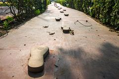 Gandhi memorial steps and stone. Traces leading to the site of the murder of the father of the Indian nation Mahatma Gandhi Royalty Free Stock Photo